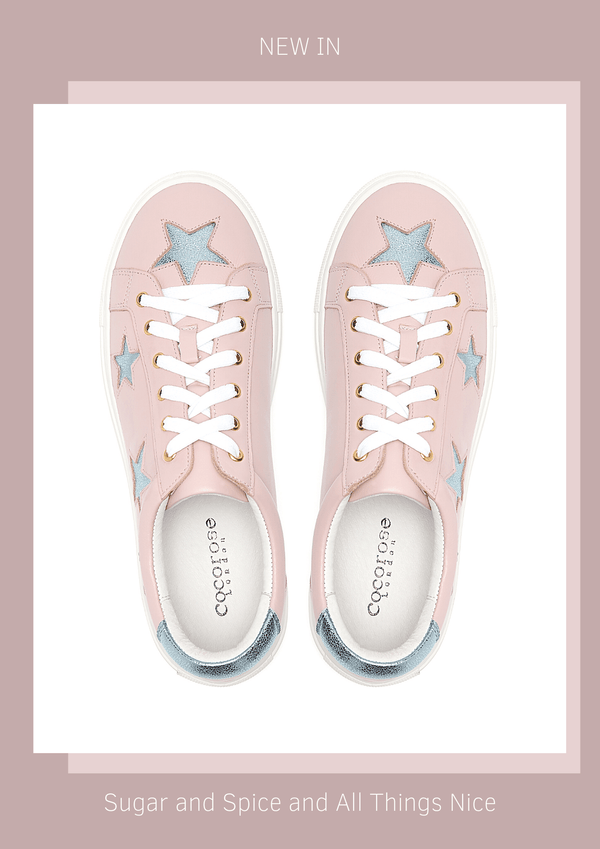 New In Hoxton Pastel Pink Leather Trainers with Metallic Blue Stars | Women's Designer Trainers
