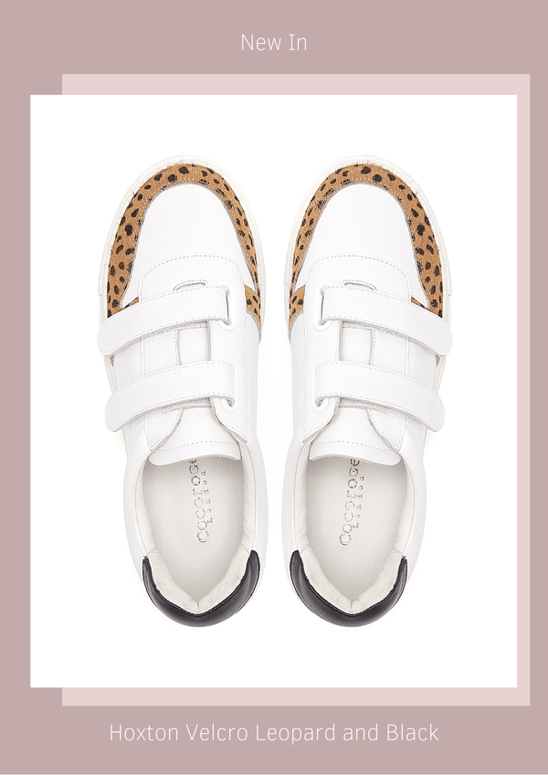 Women's Designer Trainers - Double strapped velcro trainers in white leather with black and leopard print