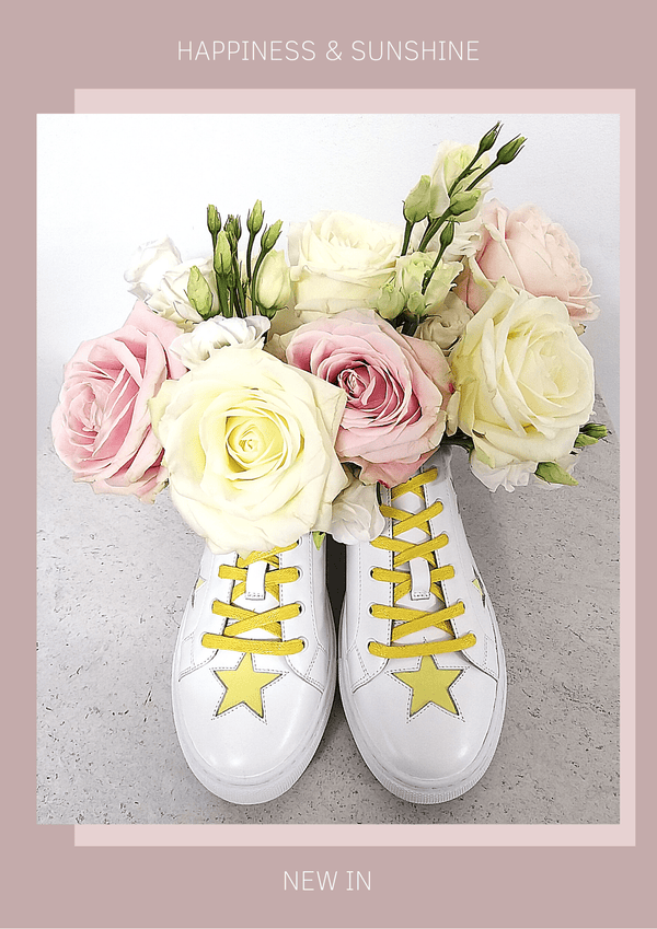 White leather trainers with lemon yellow stars - sunshine and happiness for your feet