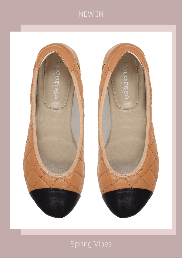 New In Piccadilly Tan Quilted Ballerinas - Soft and Comfortable