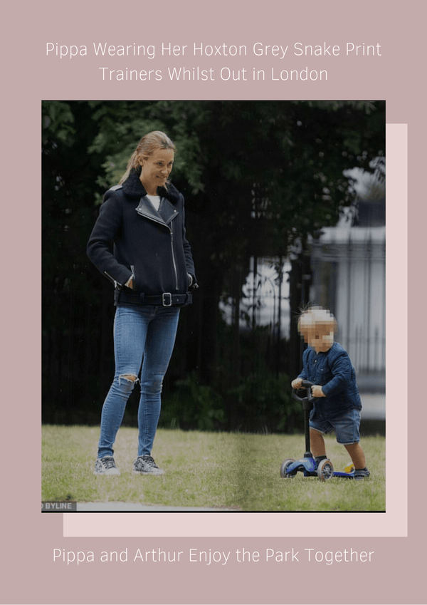 Pippa Middleton Matthews wears her Cocorose trainers in grey snake print whilst out and about with son Arthur