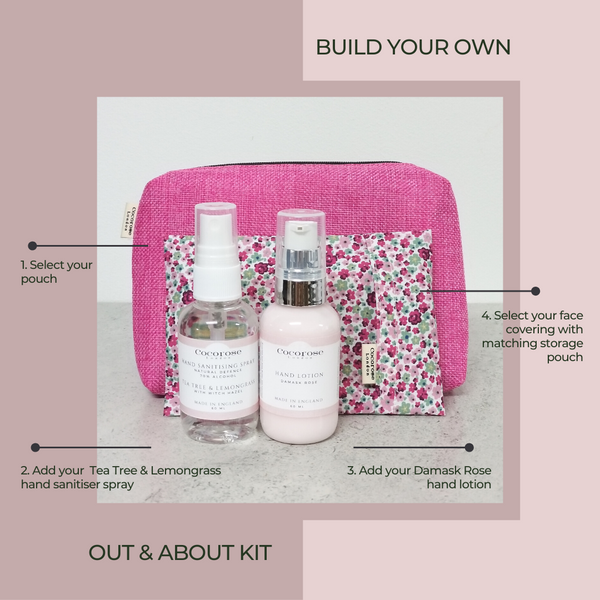 Cocorose Out & About Kit | New Normal Essentials | Covid Essentials | Hand Sanitising Spray, Hand Lotion and Face Covering in a Handbag sized pouch