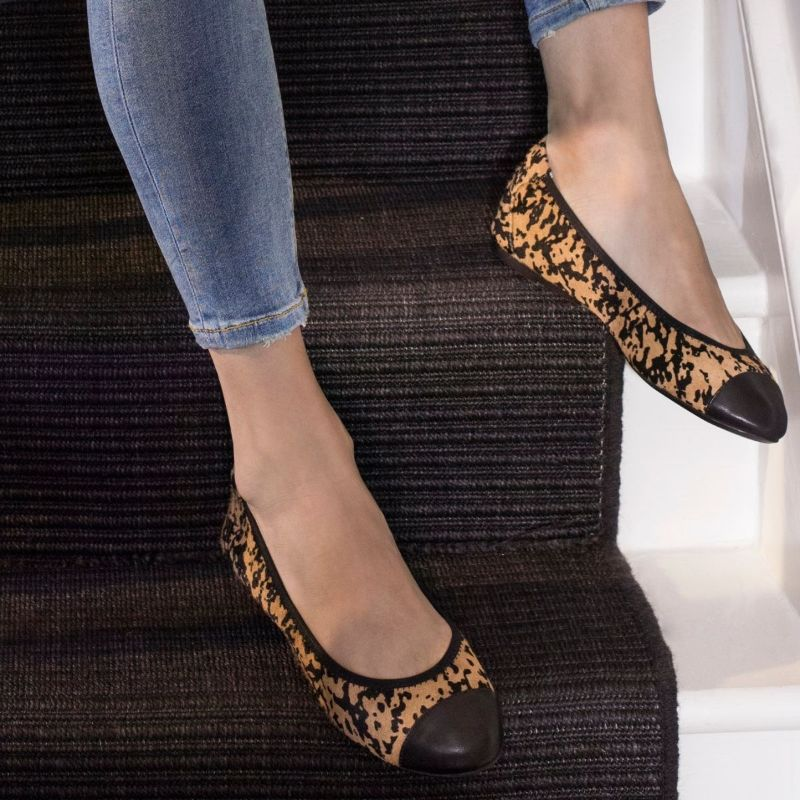 Cocorose London Harrow Leopard 2.0 Leather Ballet Flats with Concealed Wedge Heel