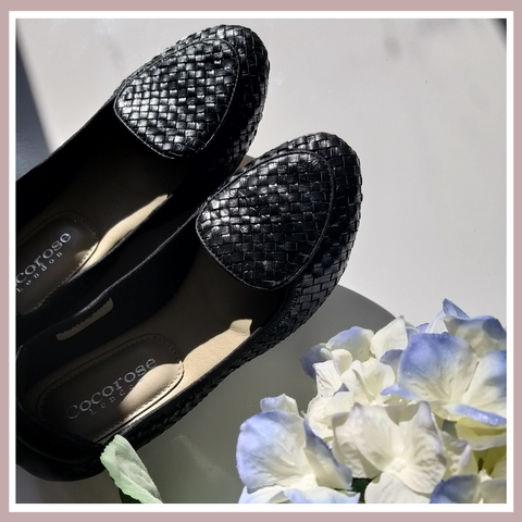 Clapham Foldable Black Leather Woven Flats