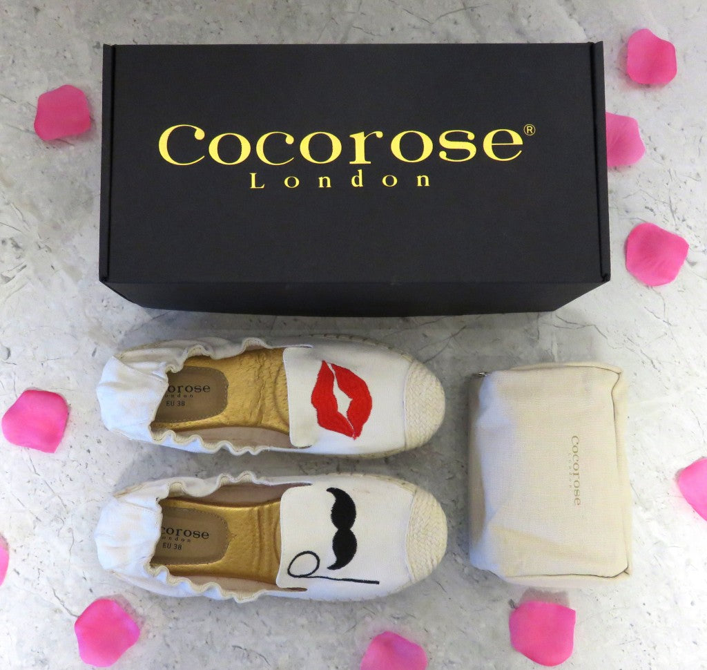 Cocorose London's Carnaby Lips and Mustache Foldable Espadrilles