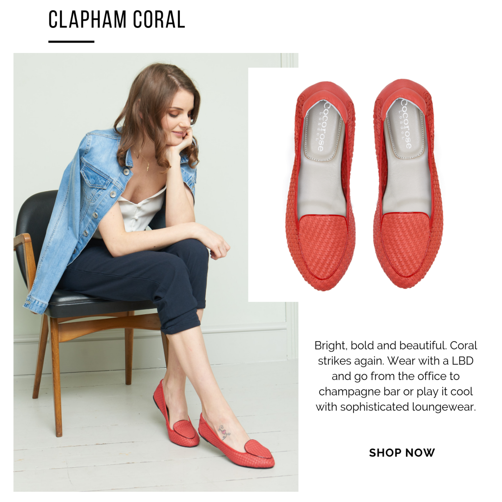 Cocorose London's Clapham foldable leather loafers - bottega venta style hand-woven leather flats in coral red leather