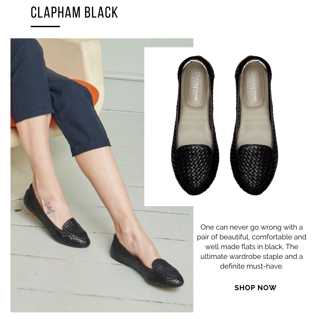 Cocorose London's Clapham foldable leather loafers - bottega venta style hand-woven leather flats in classic black leather
