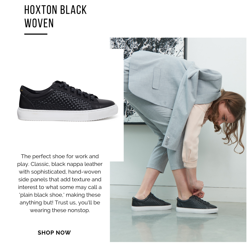 Cocorose London's low top Hoxton trainers and sneakers in black woven leather