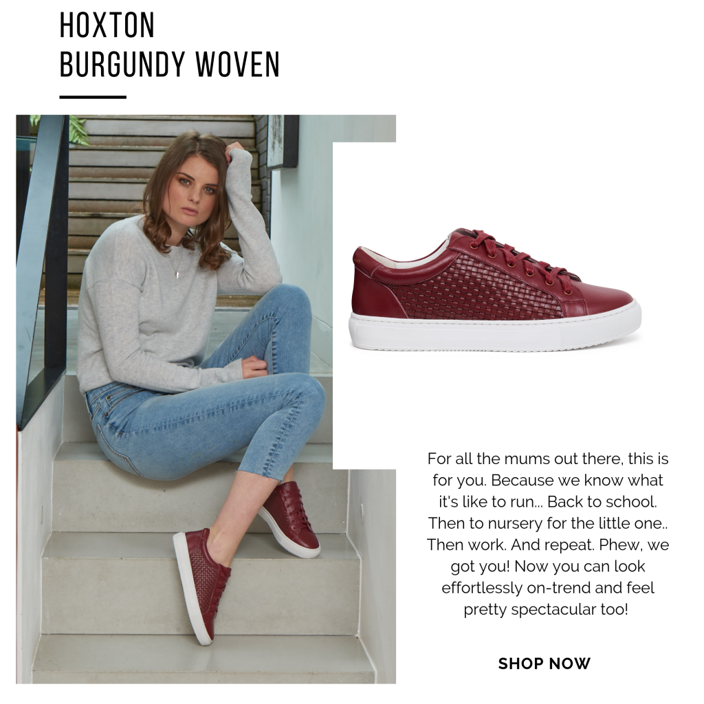 Cocorose London's low top Hoxton trainers and sneakers in burgundy woven leather