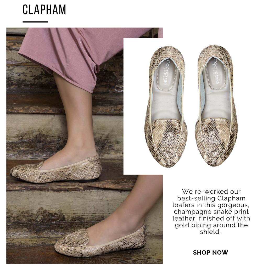 Cocorose London's Champagne Gold Snake Print Foldable Leather Clapham Loafers