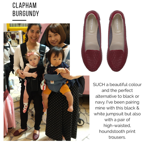 Janan wearing her foldable Clapham Burgundy leather loafers in Osaka, Japan during the British Fair at Hankyu Department Store