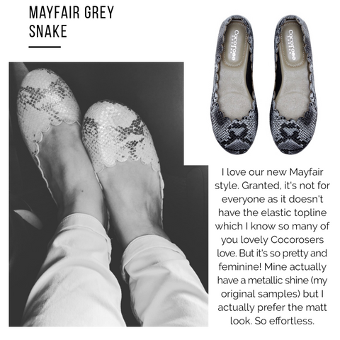 Cocorose London Mayfair Grey Snake Print Scalloped Leather Ballet Flats