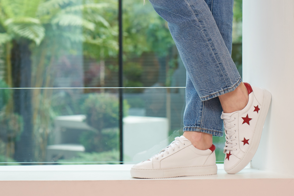 Cocorose Designer Comfortable Trainers in white with Red Stars.