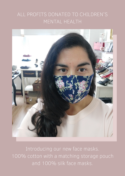 Our new Cocorose Face Masks and Face Coverings, donating all profits to Honeypot Children's Charity to support mental health
