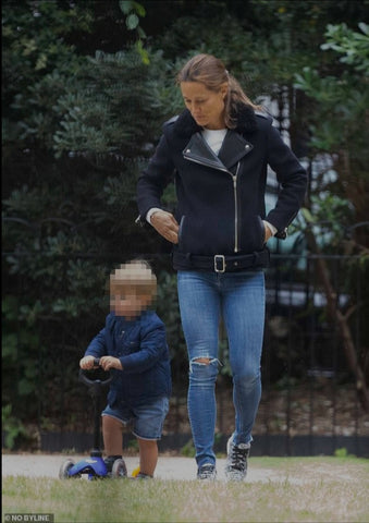 Pippa Middleton Matthews in her Cocorose Hoxton Grey Snake Print trainers with son Arthur