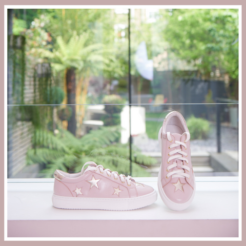 Cocorose Hoxton Pastel Pink with Gold Stars Trainers