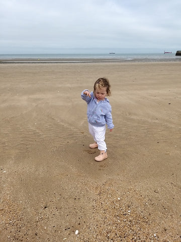 Elin at the seaside on her birthday