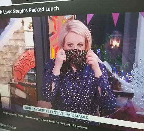 Steph McGovern wears Cocorose face mask on Channel 4 Steph's Packed Lunch