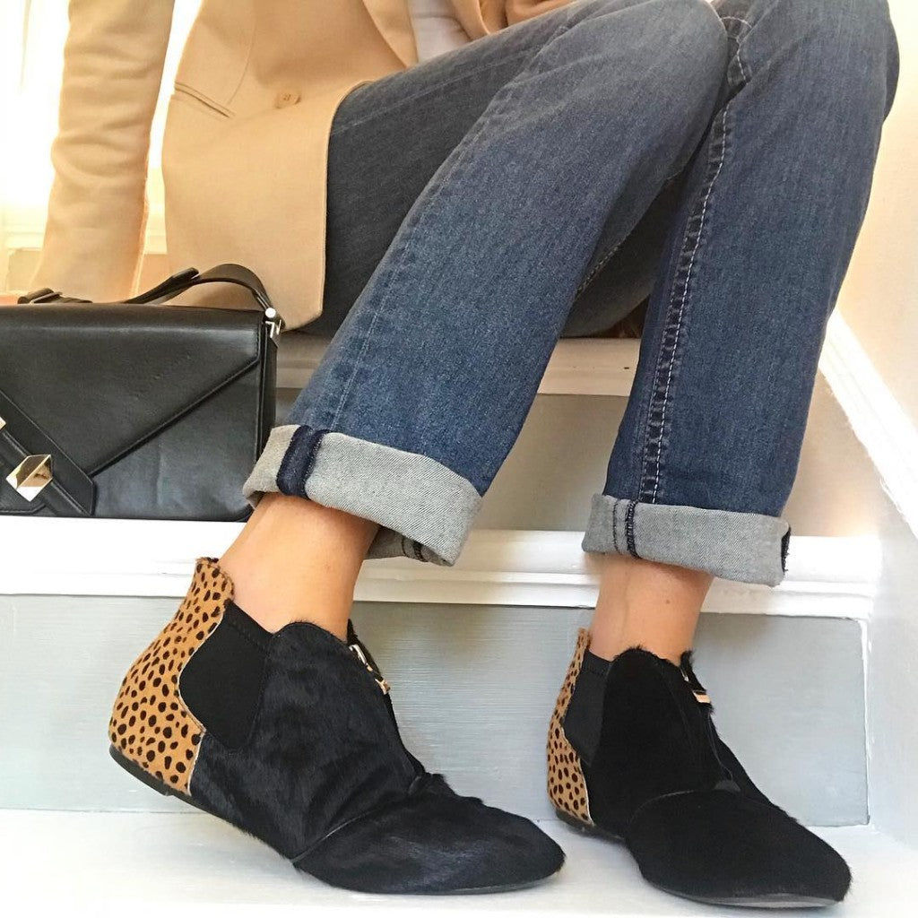 Cocorose London Hampstead Black and Leopard Print Leather Ankle Boots