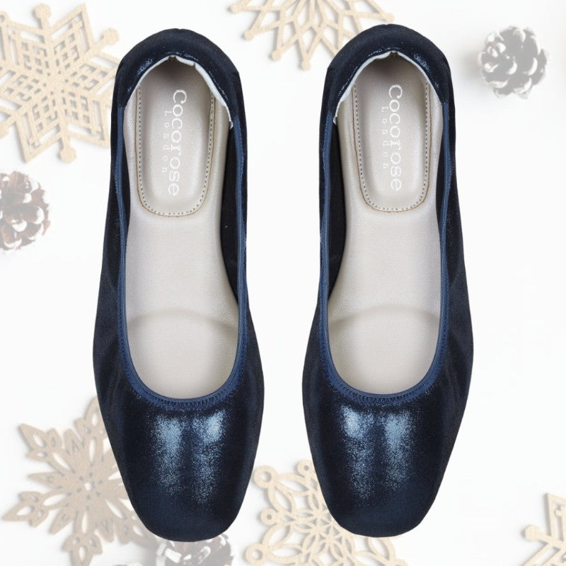 Cocorose London Barnes Metallic Navy Leather Foldable Ballet Flats Gorgeous Gift