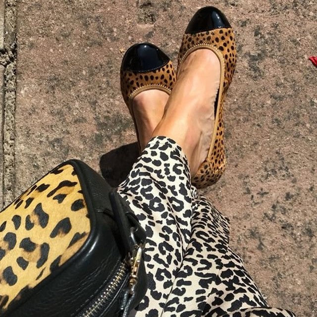 What Kathy Did Next in her Harrow Leopard Leather Foldable Ballet Pumps