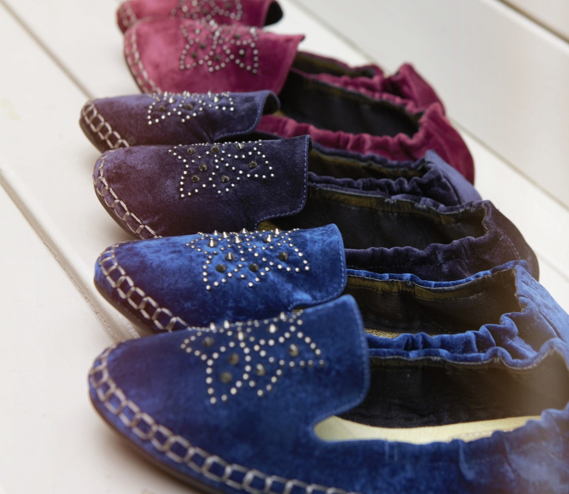 Cocorose London's New Carnaby Style Foldable Espadrilles in Velvet with Studs