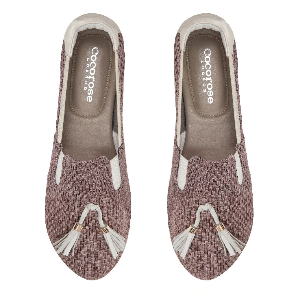 Cocorose London Shoreditch Mauve & White Foldable Loafers