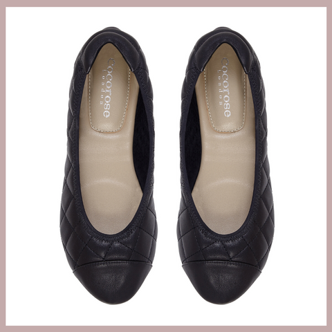 Piccadilly Quilted Black Leather Ballet Flats | Foldable Ballet Flats