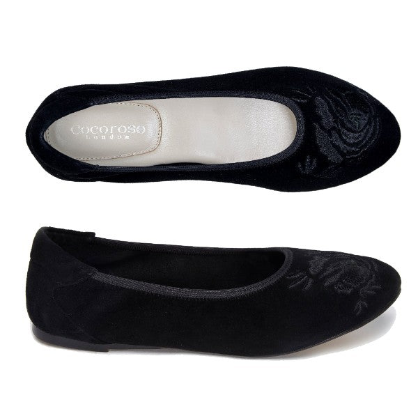Pimlico Black Suede with Embroidery