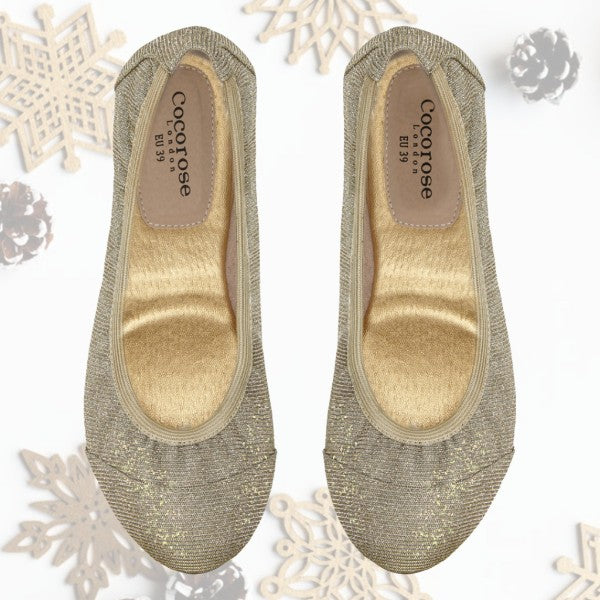 Cocorose London's Barbican Desert Gold Glittery Gold Foldable Shoes Gift