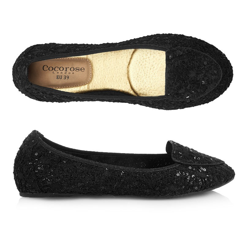 Cocorose London The Royal Ballet Perdita Sequinned Black Sparkly Fold Up Shoes
