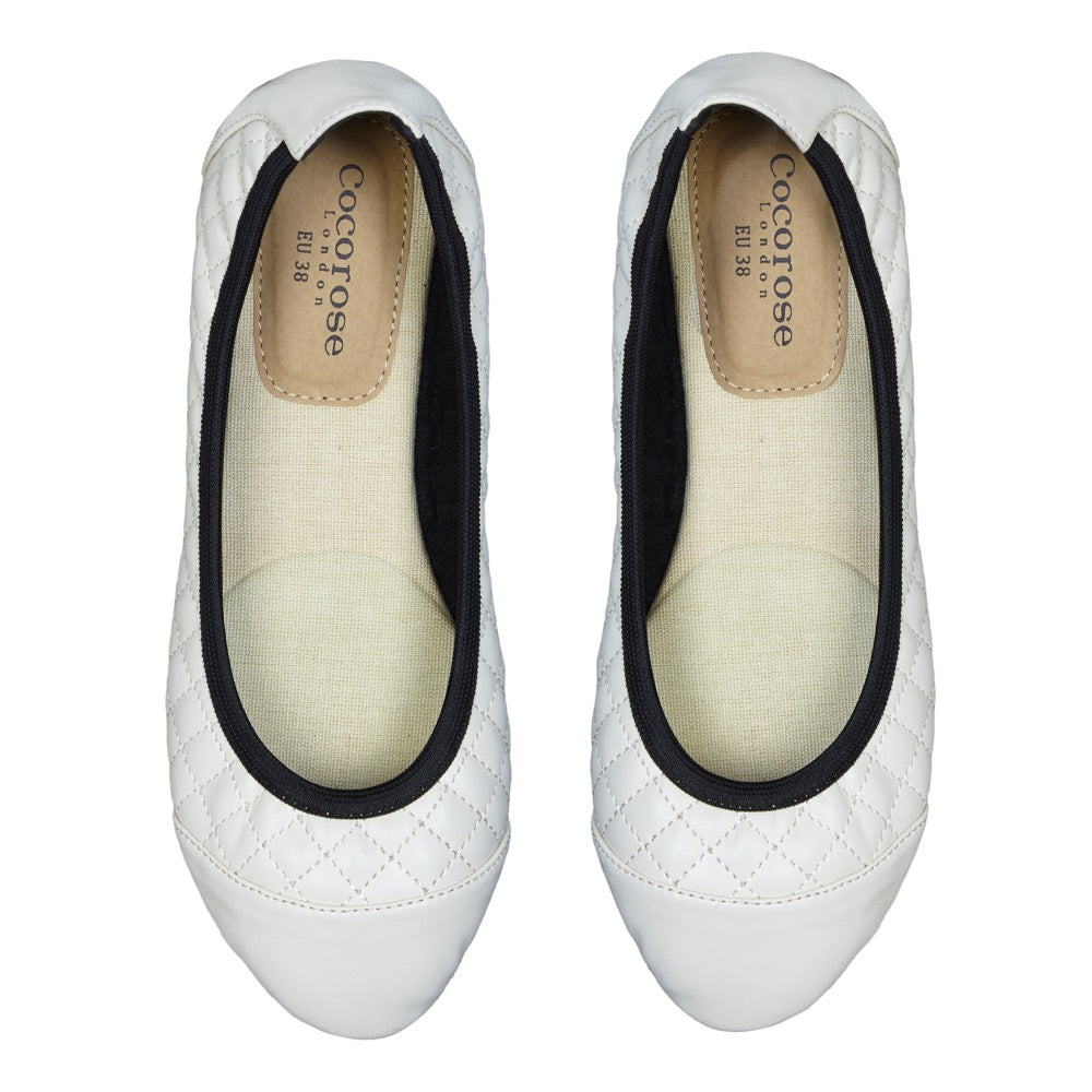 Cocorose London's Greenwich Style - Vegan Foldable Shoes in Ivory Faux Leather