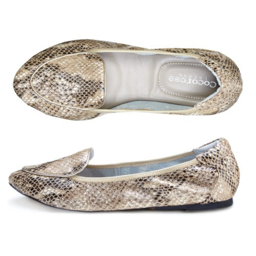 Cocorose London's Clapham Champagne Gold Leather Snake Print Foldable Flats