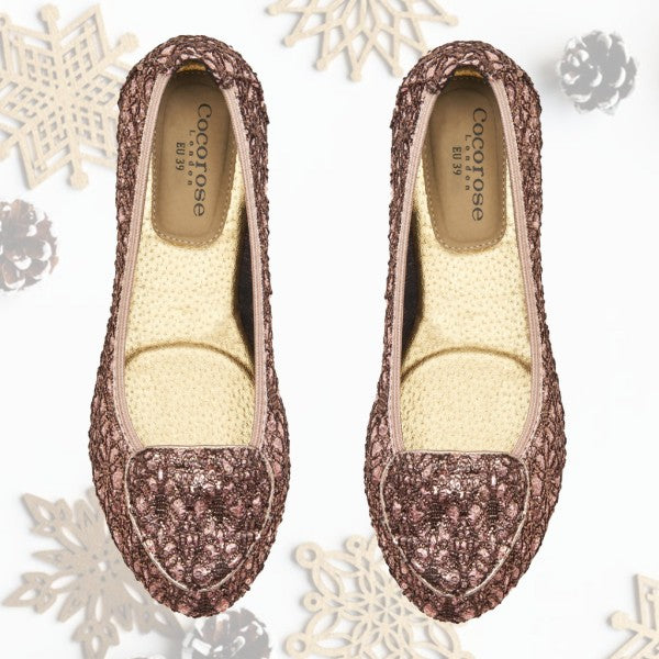 Cocorose London x The Royal Ballet Juliet Sequinned Blush Pink Foldable Flat Ballet Loafers Gift