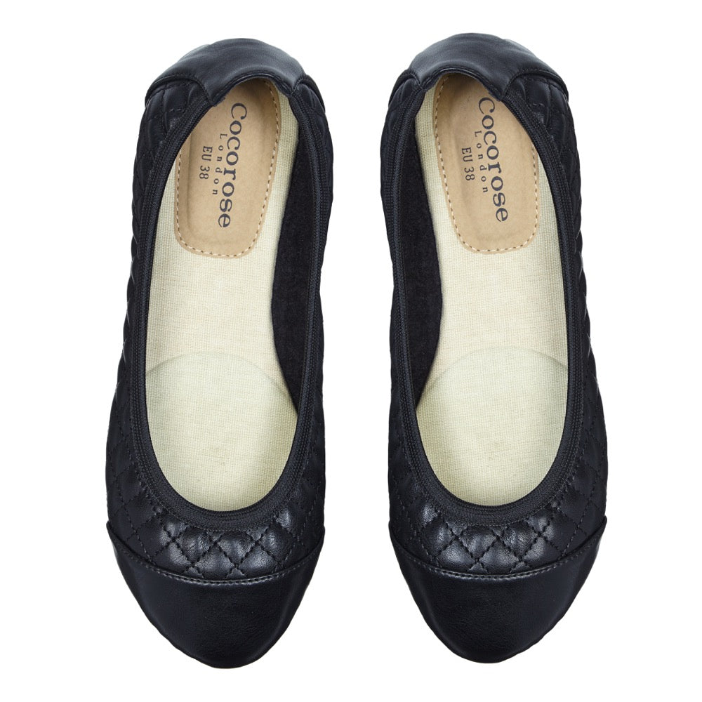 Cocorose London's Greenwich Style - Vegan Foldable Shoes in Black Faux Leather