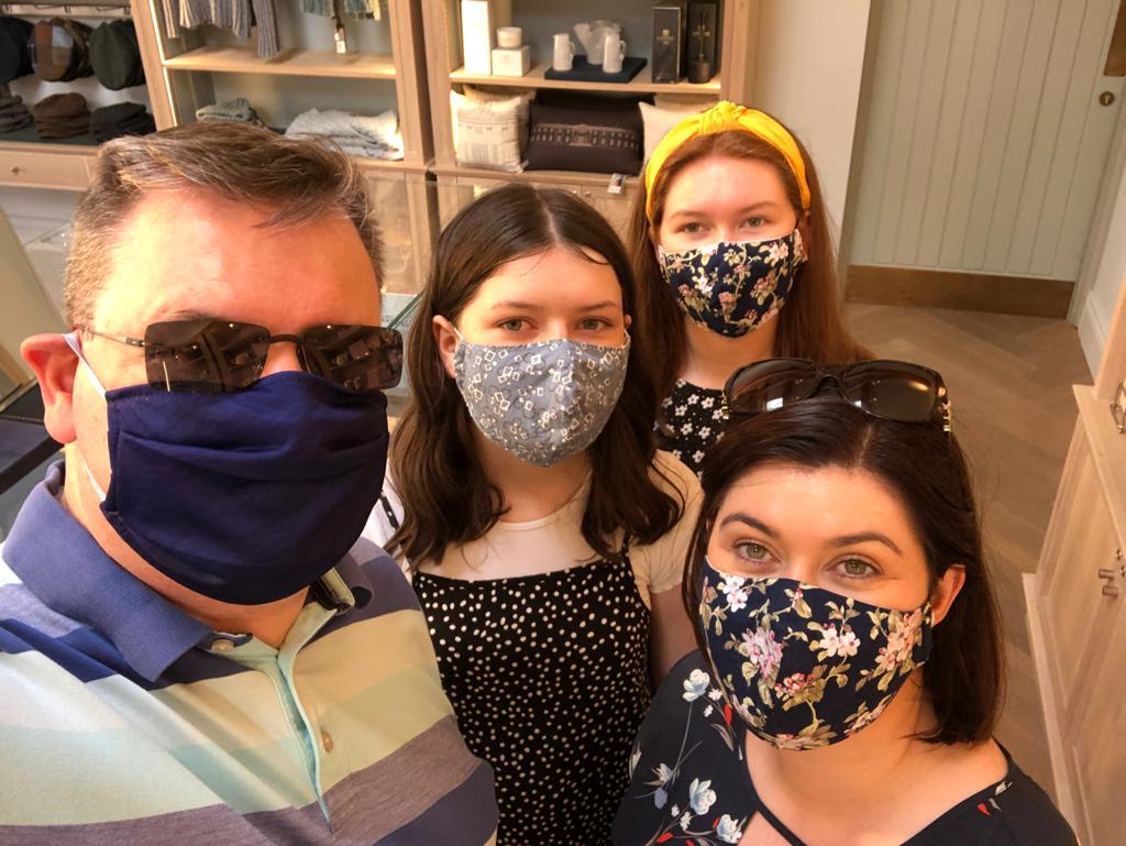 Anne Marie and family wearing their Cocorose cotton face masks