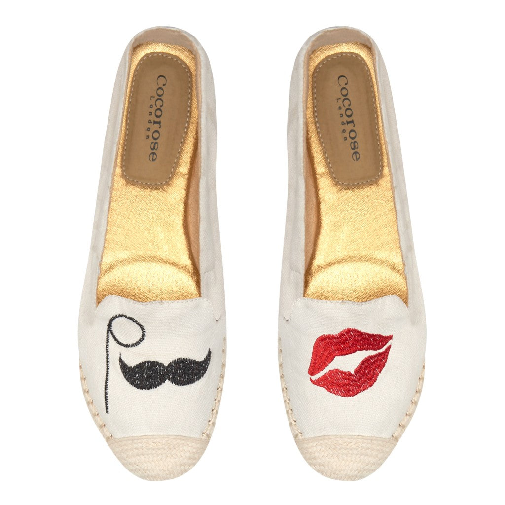 Carnaby CR0637 Lips & Mustache Applique Birds Eye