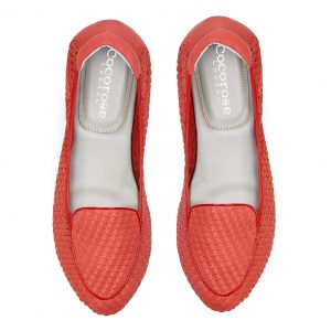 Cocorose London's foldable Clapham Coral Red woven leather loafers for Royal Ascot