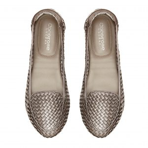 Cocorose London's Clapham style fold up leather loafers in pewter silver for Royal Ascot