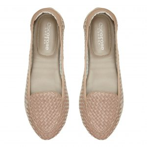 Cocorose London's foldable Clapham leather loafers in dusky pink