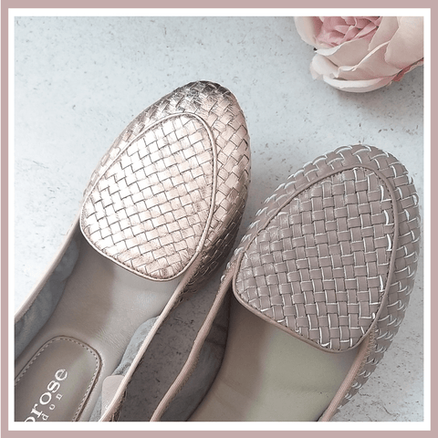 Iconic Clapham Loafers - hand woven leather loafer flats in rose gold and dusky pink