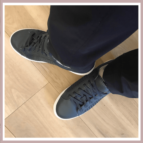 Hoxton Trainers - Navy Woven Leather Trainers
