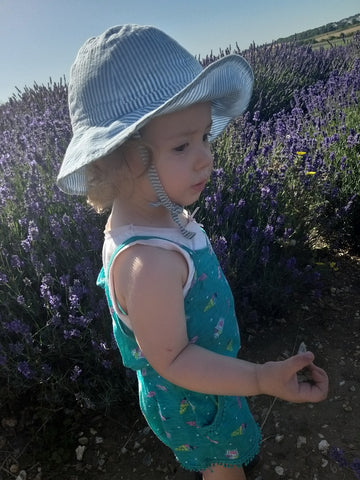 Elin enjoying the fresh lavendar at Hitchin Lavendar Farm