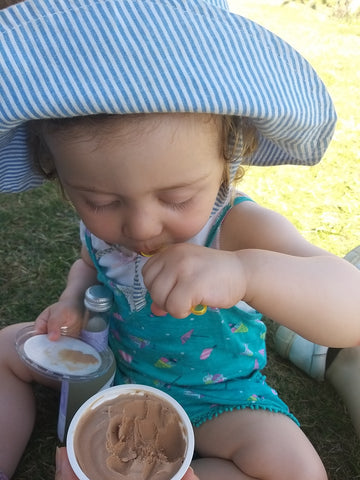 Elin and I share a chocolate ice cream at Hitchin Lavendar Farm