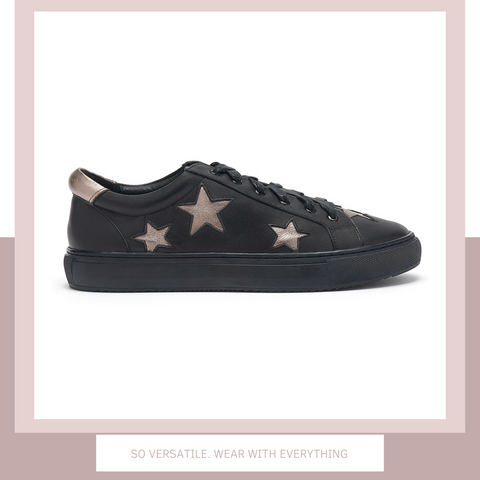 Black trainers with pewter silver stars | women's designer trainers