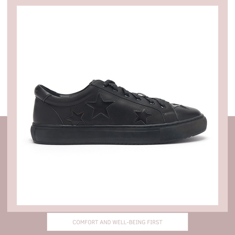 The all-black trainer with black stars | women's designer trainers