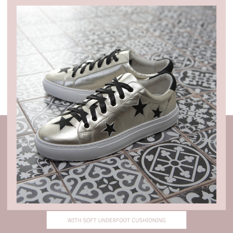 Metallic trainers | Gold fashion trainers with black stars | Women's designer trainers