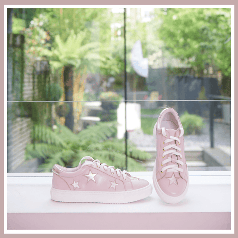 Women's Designer Trainers - Cocorose London - Hoxton Pastel Pink with Gold Stars