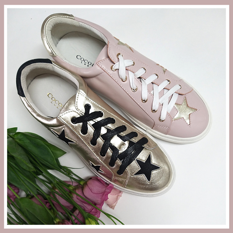 Women's Designer Trainers | Hoxton Pastel Pink and Gold Trainers
