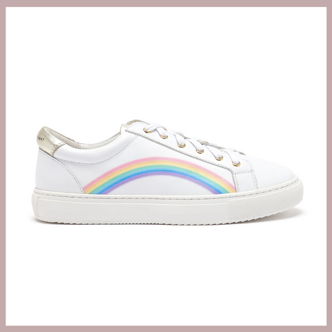 Hoxton Rainbow Trainers in White Leather